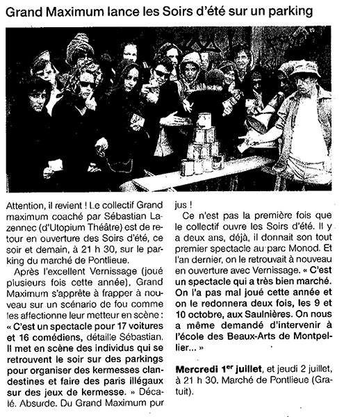 article de presse Grand maximum
